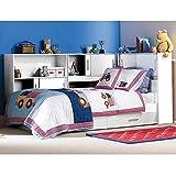 Funktionsbett-90200-cm-wei-inkl-Regale-Bettksten-Kinderbett-Jugendbett-Jugendliege-Bettliege-Bett-Jugendzimmer-Kinderzimmer