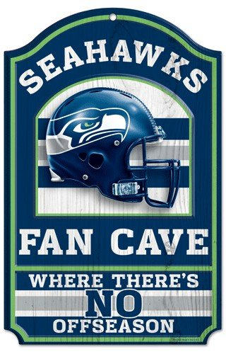 "Seattle Seahawks Wood Sign - 11""x17"" Fan Cave Design at Amazon.com"