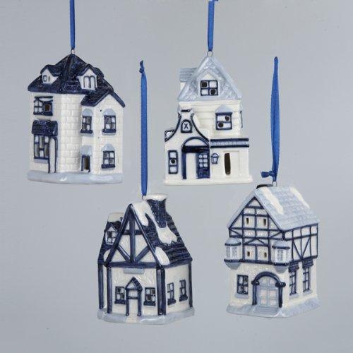 Porcelain Delft Blue House With Led Light Ornament Set Of 4