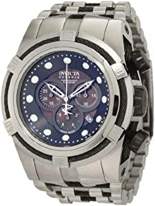 Invicta 825 Mens Reserve Stainless Steel Case and Bracelet Black Mother of Pearl Dial Chronograph Watch
