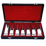 Swan 10 Holes 20 Tones Harmonica - Set of 7. Stainless Steel Shell Blues Diatonic Harmonicas - 7 Keys (A B C D E F G). Comes with Beautiful Luxury Gift Box.