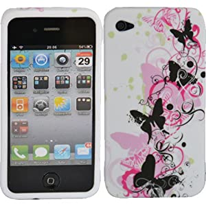 BUTTERFLY FLORAL GEL SILICONE RUBBER CASE COVER IPHONE 4 4S