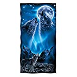 Brand New 100% Cotton Wolves Moon Beach/Shower Towel