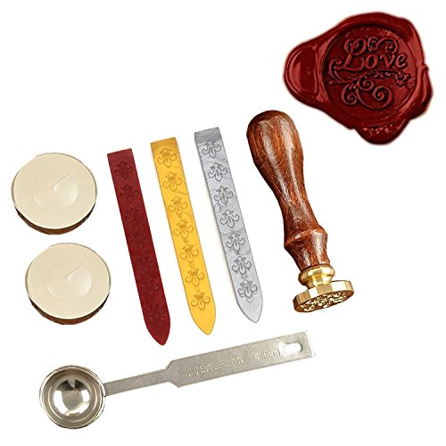 Gift Pro ® European Retro Wax Seal Stamp Kit Vintage Letter / Envolop Wax Sealing Set with Gold Red Silver Sticks (LOVE) (Wax Seal Kit Gold compare prices)