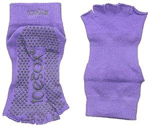 ToeSox Men's and Women's 1 Pair Half Toe Organic Cotton Ankle Yoga Socks In Light Purple 6-8.5 Unisex Light Purple