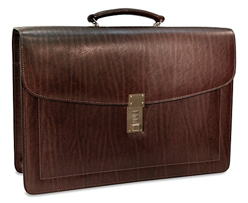Jack Georges Belting Double Gusset Leather Briefcase w/Combination Lock in Brown