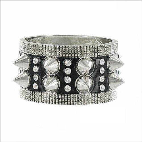 JOA Spike & Crystal Stud Hinged Bracelet #036283