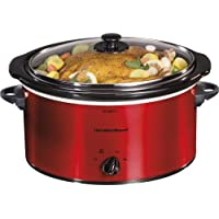 Hamilton Beach 33155 5-Quart Portable Slow Cooker (Red)