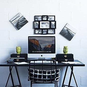 Wallniture Home Office Desk Organizer - Wooden 2 Drawer Under Monitor Stand - Printer Platform - Paper Holder Black