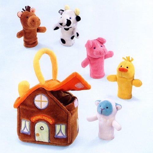 アニマルハウス(かわいいおうちと指人形のセット)布製知育玩具