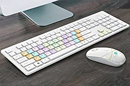 SROCKER G9300 2.4G Wireless Quiet Click Keyboard and Mouse Combo Noiseless Chocolate Keys with Nano USB Receiver for PC and Mac(Rainbow)