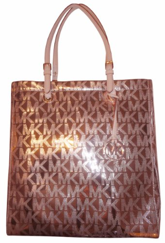 a71b24361667 Michael Kors Signature Mirror Metallics PVC N/S Tote in Rose Gold (MK  HANDBAGS, TOTES, BAGS, PURSES)