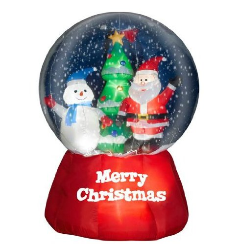 5.5' Tall x 4.5' Wide Airblown Snow Globe w/ Santa and Snowman Christmas Inflatable - Garden outdoor decoration