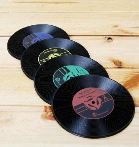 アナログ LP レコード コースター 4カラー 8枚 セット
