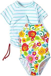 Snapper Rock  Garden Flower UV-Protective girls Swim Suit + Rashie Set - White/Blue/Pink/Green, 2 Years