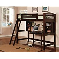 Nice Cappuccino Finish Workstation Bunkbed Bunk Bed PC Desk
