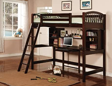 Fancy Cappuccino Finish Workstation Bunkbed Bunk Bed PC Desk