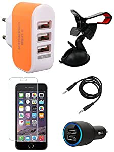 NIROSHA Tempered Glass Screen Guard Car Charger Mobile Holder Charger for Apple iPhone 6 - Combo