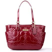 Hot Sale COACH Gallery Embossed Patent Tote - Crimson