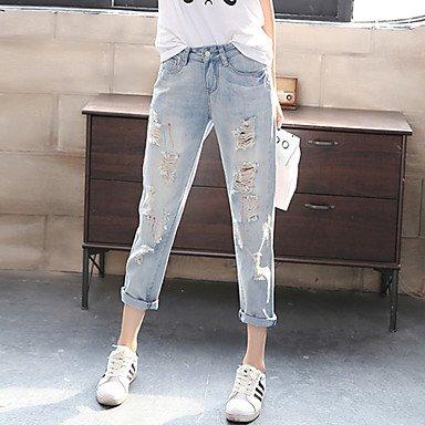 PU&PU Pantaloni Da donna Modello harem / Jeans Taglie forti / Moda città Cotone Media elasticità , light blue , 30