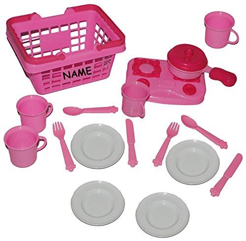 18 tlg. Set Picknick Korb incl. Name – rosa Kunststoff