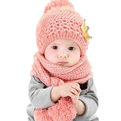 Datework Hat + Scarf ,Cute Baby Kids Girls Boys Warm Woolen Coif Hood Scarf Caps Hats (Pink) (Gift One Year Old Girl compare prices)