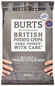 Burts Potato Chips Salt and Black Pepper 150 g (Pack of 10)