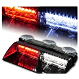 WoneNice 16 LED High Intensity LED Law Enforcement Emergency Hazard Warning Strobe Lights 18 Modes for Interior Roof / Dash / Windshield with Suction Cups Amber,White,Amber/White,Red,Blue,Red/Blue,White/Blue, Red/White (Red/White)