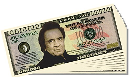 Johnny Cash Novelty Million Dollar Bill - 25 Count with Bonus Clear Protector & Christopher Columbus Bill