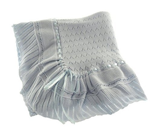 Blue Knit Shawl Blanket Baby Boy Feltman Brothers (Blue) - 1