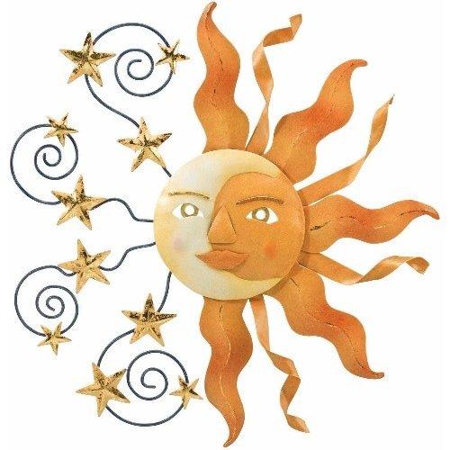 Celestial Sun Moon Stars Metal Sign Wall Decor