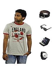 Garushi Grey T-Shirt With Watch Belt Sunglasses Cardholder - B00YMLRW86
