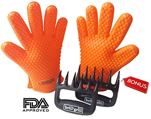 Big Save! BBQ Grill Cooking Gloves Heat Resistant & Bear Claw Set - High Quality Silicone Barbecue G...