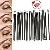 E2shop® 20 Pcs Cosmetic Makeup Brushes Set Eyeshadow Lip Brush for Girls(black)