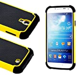 "myLife (TM) Black and Yellow - Classic Rugged Design (2 Piece Hybrid Bumper) Hard and Soft Case for the Samsung Galaxy S4 ""Fits Models: I9500, I9505, SPH-L720, Galaxy S IV, SGH-I337, SCH-I545, SGH-M919, SCH-R970 and Galaxy S4 LTE-A Touch Phone"" (Fitted Back Solid Cover Case + Internal Silicone Gel Rubberized Tough Armor Skin + Lifetime Warranty + Sealed Inside myLife Authorized Packaging at Amazon.com"