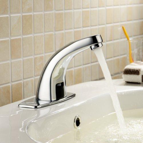 Lightinthebox® Deck Mount Solid Brass Auto Sensor Bathroom Sink Faucet with Automatic Sensor Chrome Bath Tub Faucet Unique Designer Vanity Plumbing Fixtures Roman Tub Faucets Lavatory Glacier Bay Faucets