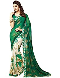Indiansell Women's Georgette Saree (printed Saree_Free Size_green)