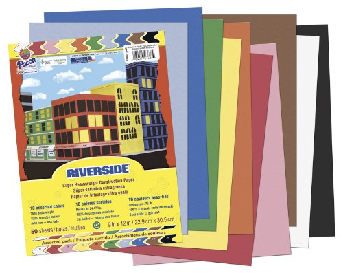 "Riverside Construction Paper, 9""X12"", Assorted, 50 Sheets - 1"
