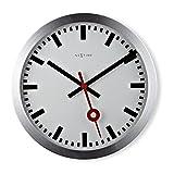 Nextime Station, orologio da parete senza numeri, con lancette silenziose, alluminio, Ø 35 cm, 3999