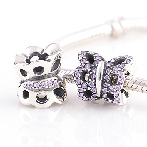 Taotaohas-(1Pc) Oxidized Antique 100% Solid Sterling 925 Silver Charms Beads, [ Name: The Purple Betterfly, Color: Violet ],With Crystal Rhinestone, Fit European Bracelets Necklaces Chains Glass Beads