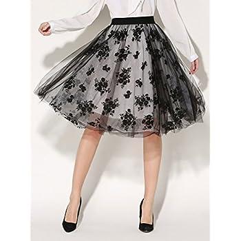 Choies Women's Vintage Retro Black High Waist Floral Print Tulle Knee Length Skirt