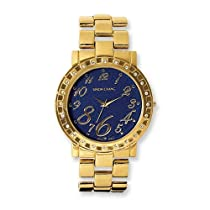 Ladies Simon Chang Gold IP-plated CZ Bezel Blue Dial Watch