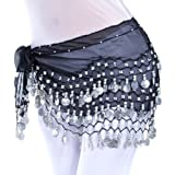 2015 Black 128silver coins chiffon belly dance scarf belt christmas skirt