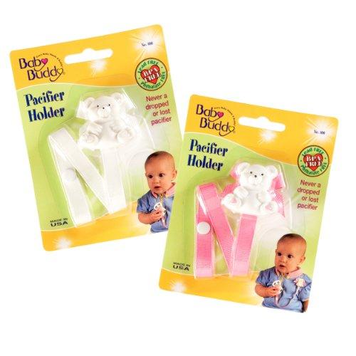 Baby Buddy - 2 Ferma ciuccio con orsetto, 0-36 mesi, colore: Rosa/ Bianco