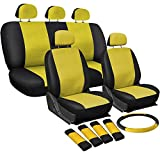 OxGord 17pc Set PU Leather / Yellow & Black Auto Seat Covers Set - Airbag Compatible - Front Low Back Buckets - 50/50 or 60/40 Rear Split Bench - 5 Head Rests - Universal Fit for Car, Truck, Suv, or Van - FREE Steering Wheel Cover