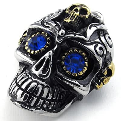 KONOV Jewelry Mens Gothic Tribe Skull Stainless Steel Pendant Necklace, Blue, 18-26 inch Chain from Pin Zhen