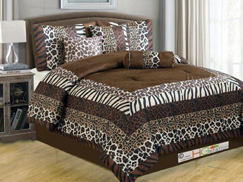 11-Pc Faux Fur Safari African Animal Kingdom Giraffe Zebra Leopard Jaguar Tiger Comforter Curtain Set Coffee King front-1011444