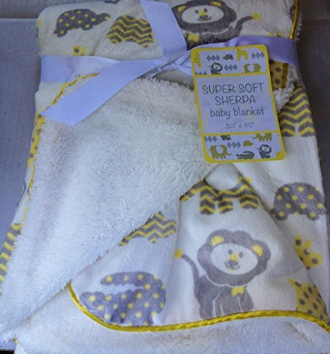 "Super Soft Sherpa Baby Blanket 30"" x 40"" Reversible White - Sweet Zoo Unisex - 1"