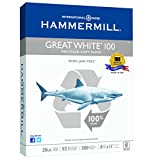 Hammermill Paper, Great White 100% Recycled Copy Paper, 20lb, 8.5 x 11, Letter, 92 Bright, 500 Sheets / 1 Ream (086790), Made In The USA