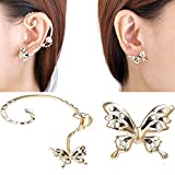 CIShop Diamond Antique Butterfly Earcuff Earrings stud Punk Style Ear Wrap
